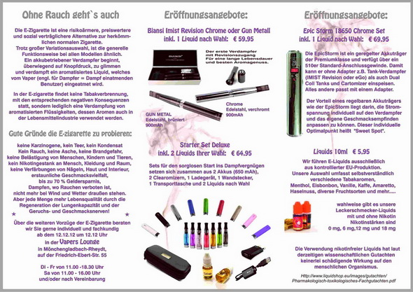 E-zigaretten in Moenchengladbach, Vapers Inn Gangelt,Vapers-Inn, e-zigaretten kaufen, e-zigaretten shop mönchengladbach